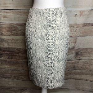 Ann Taylor Snake Print Knit Pencil Skirt Size 4